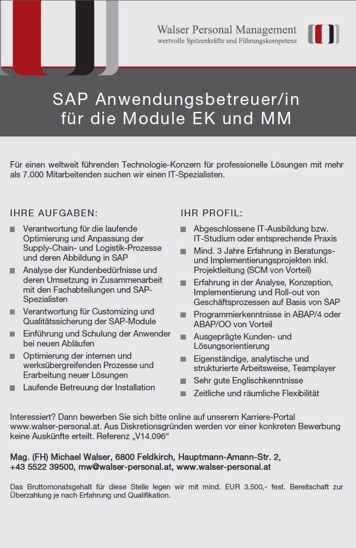 SAP-Anwendungsbetreuer (w/m)