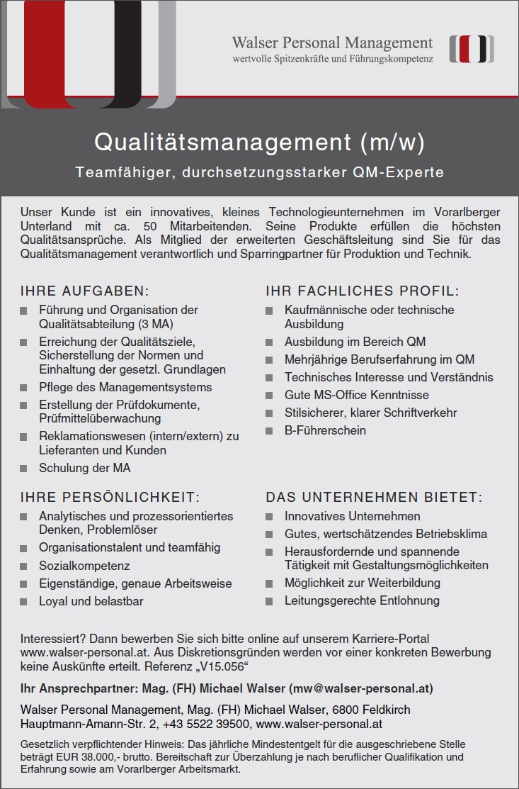 V15.056 Qualitätsmanagement